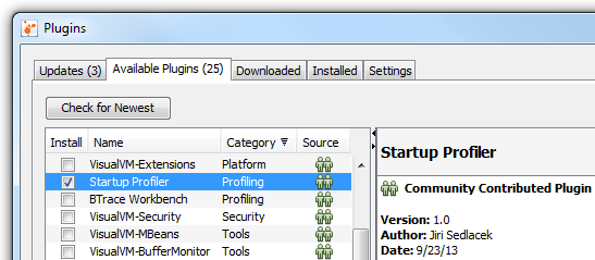 VisualVM: Startup Profiler